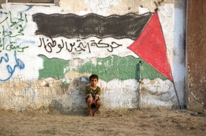 Little Boy Under Palestinian Flag
